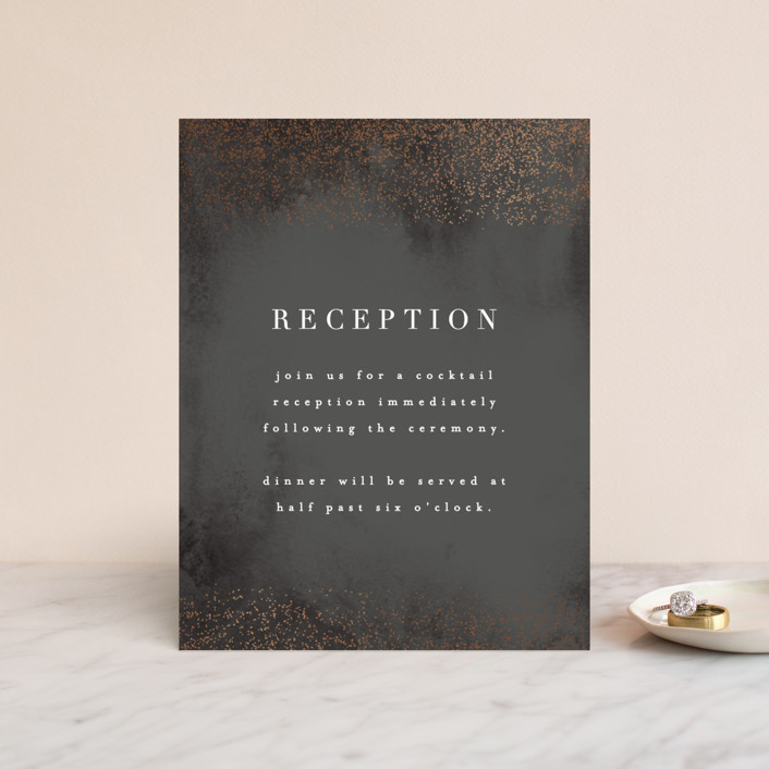 """Dusted"" - Bohemian Foil-pressed Reception Cards in Navy by Everett Paper Goods."