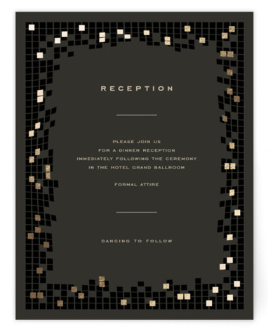 This is a modern, painterly, black, gold Reception Cards by fatfatin called Mosaic Waves with Foil Pressed printing on Signature in Card Flat Card format. A modern and chic design featuring a stylish mosaic pattern and a simple layout