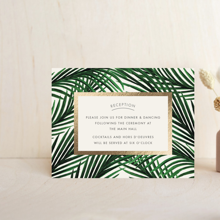"""Tropical Love"" - Foil-pressed Reception Cards in Ivory by Elly."