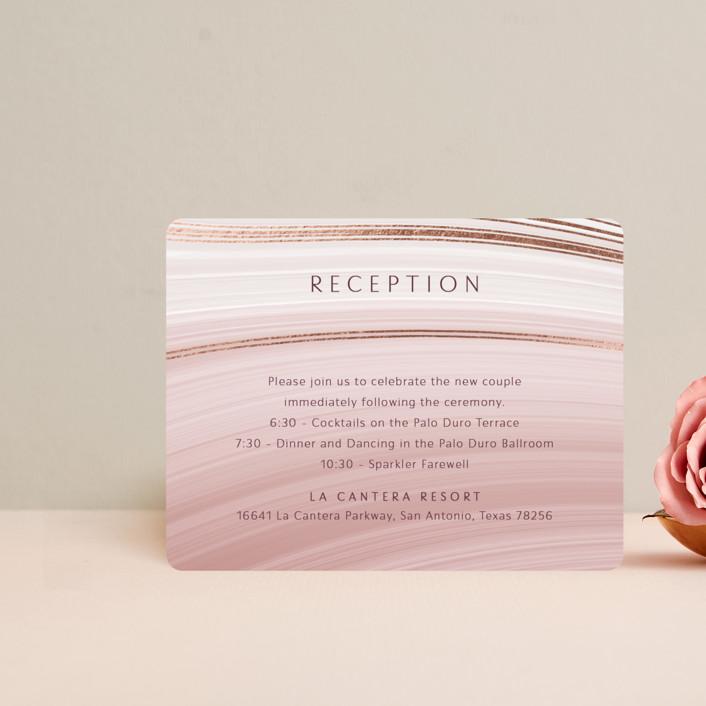 """chiffon"" - Modern Foil-pressed Reception Cards in Desert Rose by Kaydi Bishop."