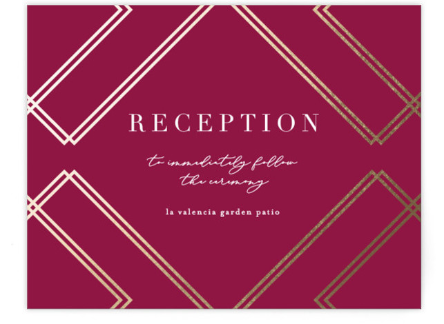 This is a landscape vintage, red Reception Cards by Erica Krystek called zigzag with Foil Pressed printing on Signature in Card Flat Card format. This chic design pairs foil pressed intersecting lines with a modern typographic layout.