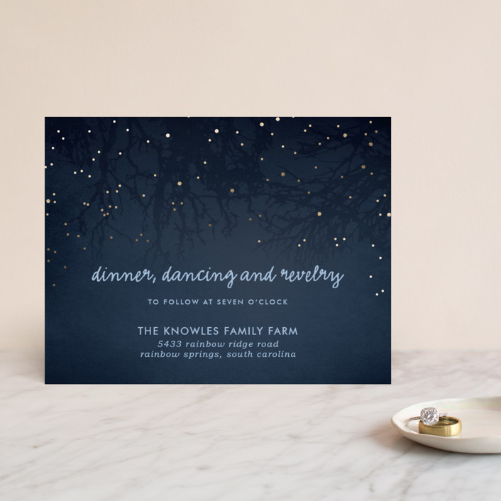 """""""Night In The Forest"""" - Rustic Foil-pressed Reception Cards in Indigo by 2birdstone."""