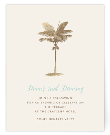 This is a landscape, portrait botanical, illustrative, blue, gold Reception Cards by Lauren Chism called Palm with Foil Pressed printing on Signature in Card Flat Card format. Modern meets elegant with this luxe destinate save the date. It will leave ...