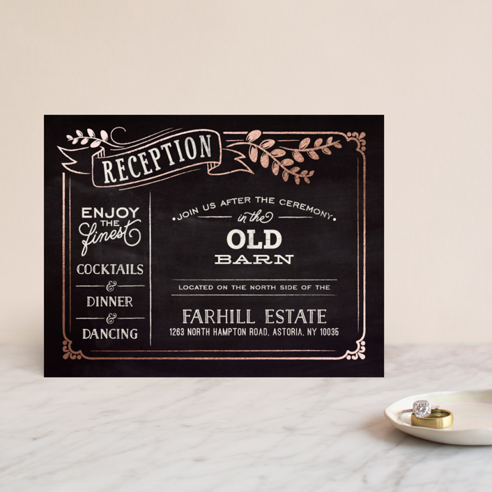 """Slated Forever"" - Bold typographic, Vintage Foil-pressed Reception Cards in Chalkboard by GeekInk Design."