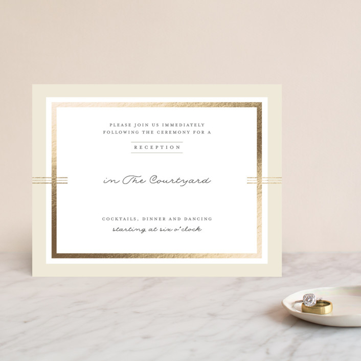 """Three Classic Lines"" - Formal, Classical Foil-pressed Reception Cards in Barley by fatfatin."