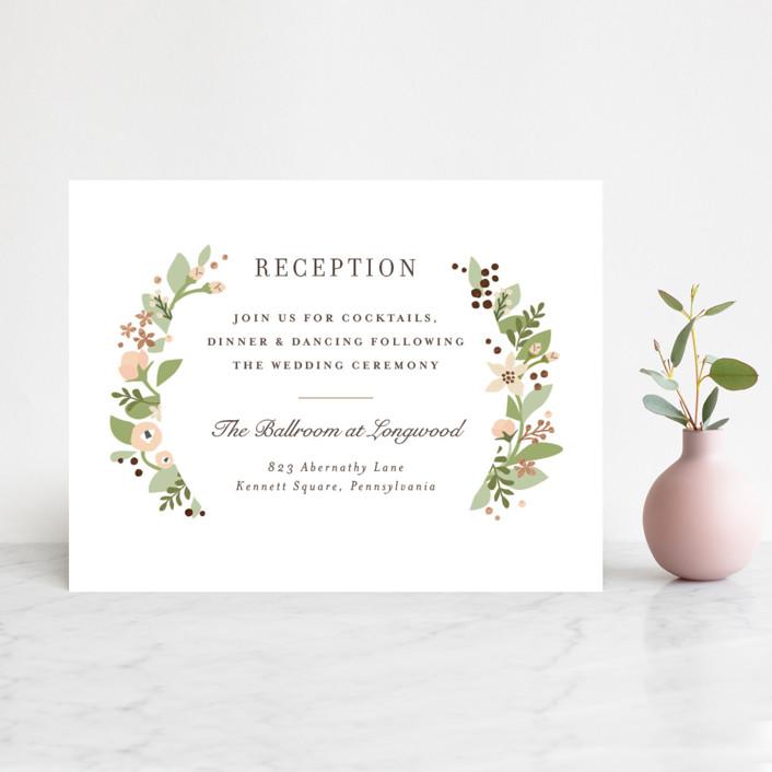 """Longwood Estates"" - Foil-pressed Reception Cards in Rose Gold by Jennifer Wick."