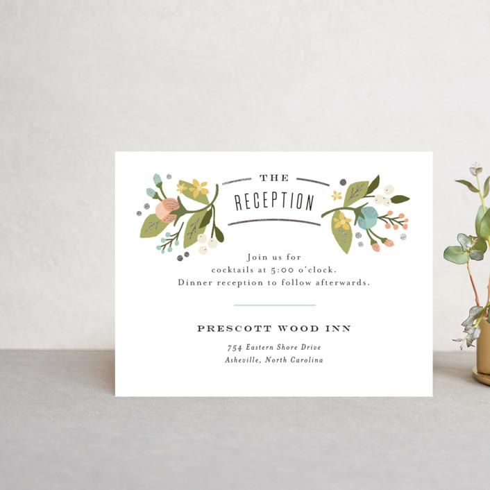 """""""Floral Ampersand"""" - Floral & Botanical, Vintage Foil-pressed Reception Cards in Sea Breeze by Jennifer Wick."""