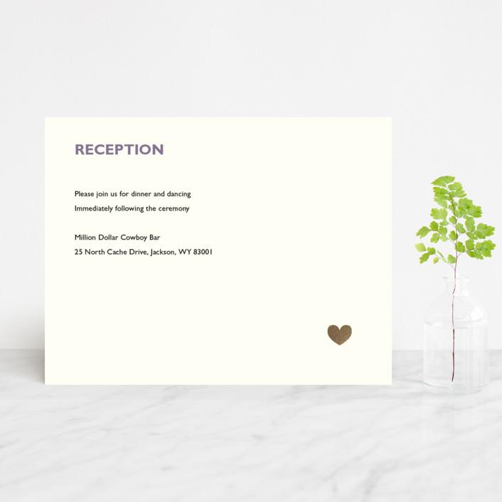 """""""Destination"""" - Foil-pressed Reception Cards in Lilac Haze by leslie hamer."""