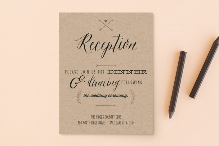 """With Joy"" - Bold typographic Foil-pressed Reception Cards in Bowtie by Eric Clegg."