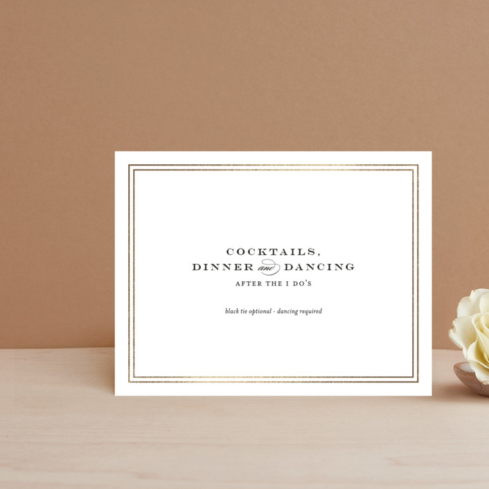 """Field"" - Simple, Elegant Foil-pressed Reception Cards in Gold by Toast & Laurel."