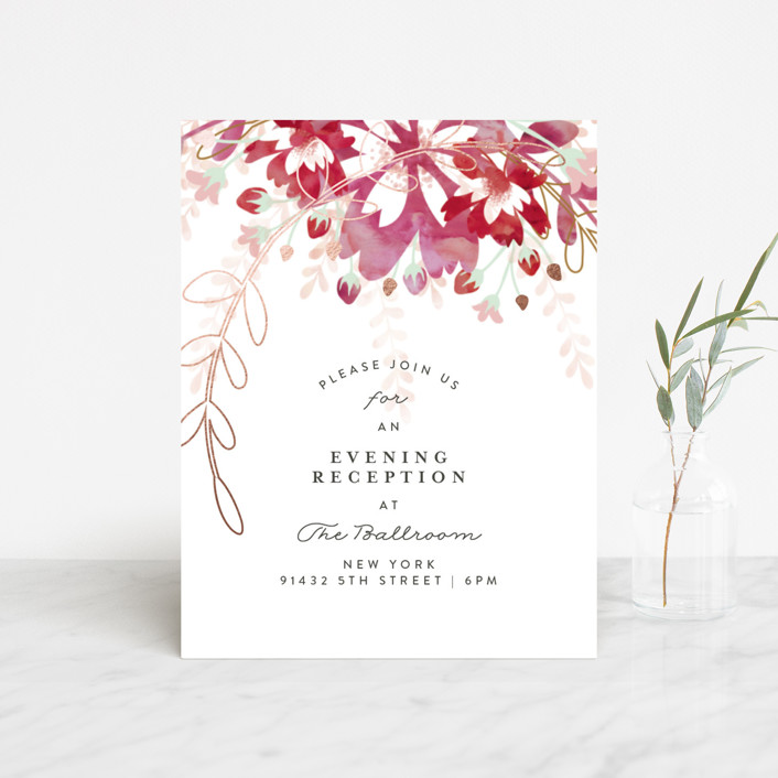 """Enchanting Plum"" - Floral & Botanical Foil-pressed Reception Cards in Deep Plum by Phrosne Ras."