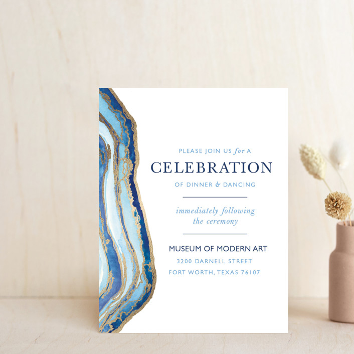 """Gilt Agate"" - Bohemian Foil-pressed Reception Cards in Navy by Kaydi Bishop."