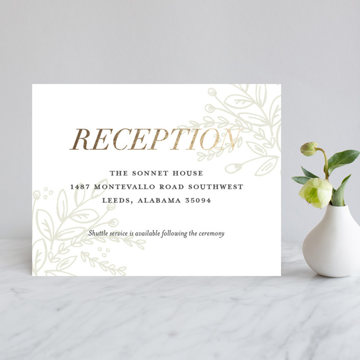"""""""Graceful"""" - Rustic Foil-pressed Reception Cards in Gold by Jessica Williams."""