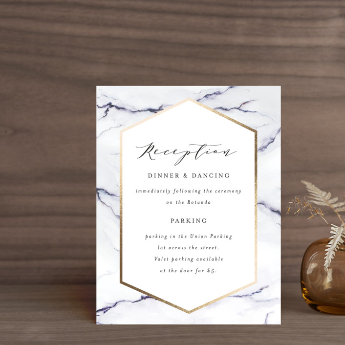 """Marbled"" - Foil-pressed Reception Cards in Golden Meadow by Itsy Belle Studio."