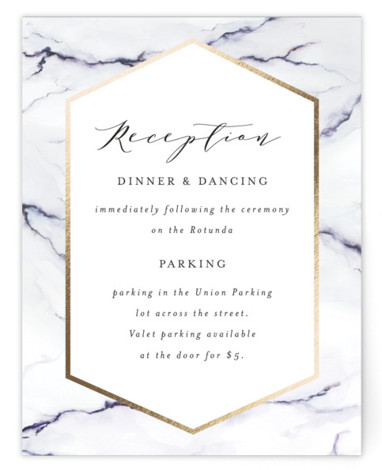 This is a purple, gold Reception Cards by Itsy Belle Studio called Marbled with Foil Pressed printing on Signature in Card Flat Card format. This foil pressed wedding invitation features a marble watercolor painting.