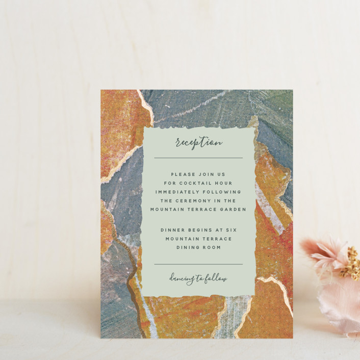"""""""Earth Song"""" - Foil-pressed Reception Cards in Sunset Stone by Starry Lane Studio."""