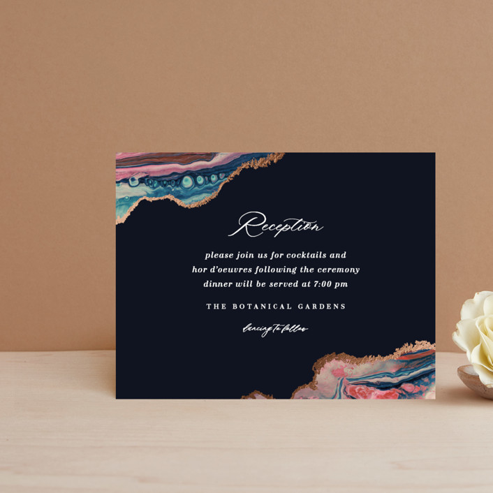"""""""moonstone"""" - Foil-pressed Reception Cards in Moon by Lori Wemple."""