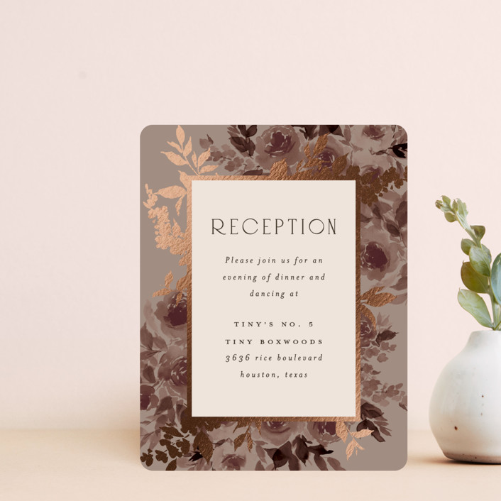 """""""Blooms"""" - Foil-pressed Reception Cards in Mauve by Everett Paper Goods."""