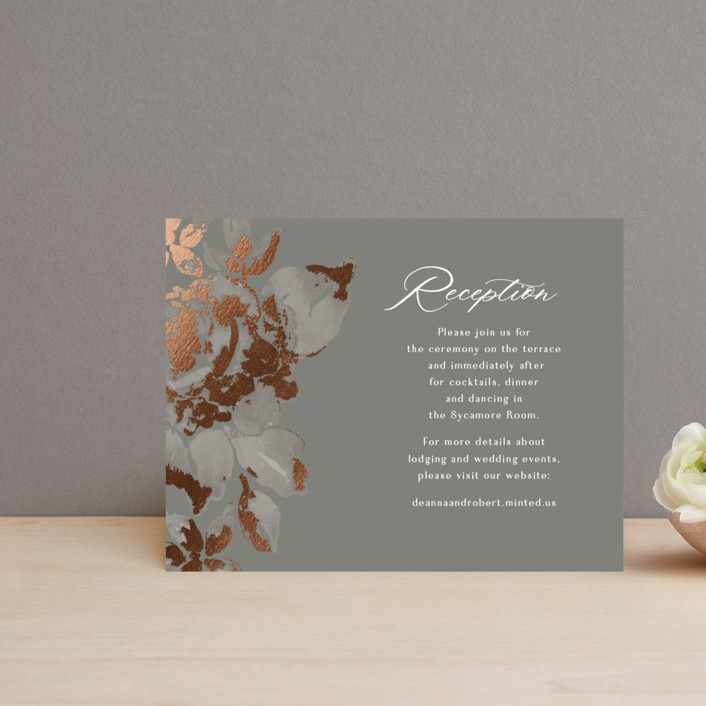 """""""Wedding Royale"""" - Foil-pressed Reception Cards in Steel by Chris Griffith."""