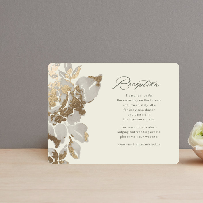 """""""Wedding Royale"""" - Foil-pressed Reception Cards in Ivory by Chris Griffith."""