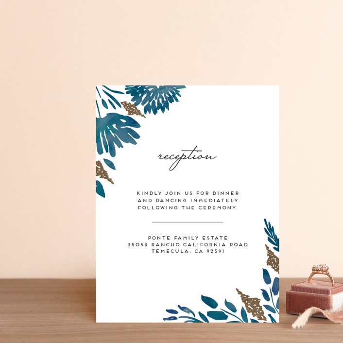 """Watercolor Delight"" - Floral & Botanical Foil-pressed Reception Cards in Indigo by Petra Kern."