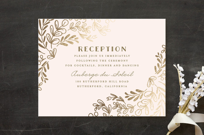 """""""Wedding Vines"""" - Rustic Foil-pressed Reception Cards in Petal by Chris Griffith."""
