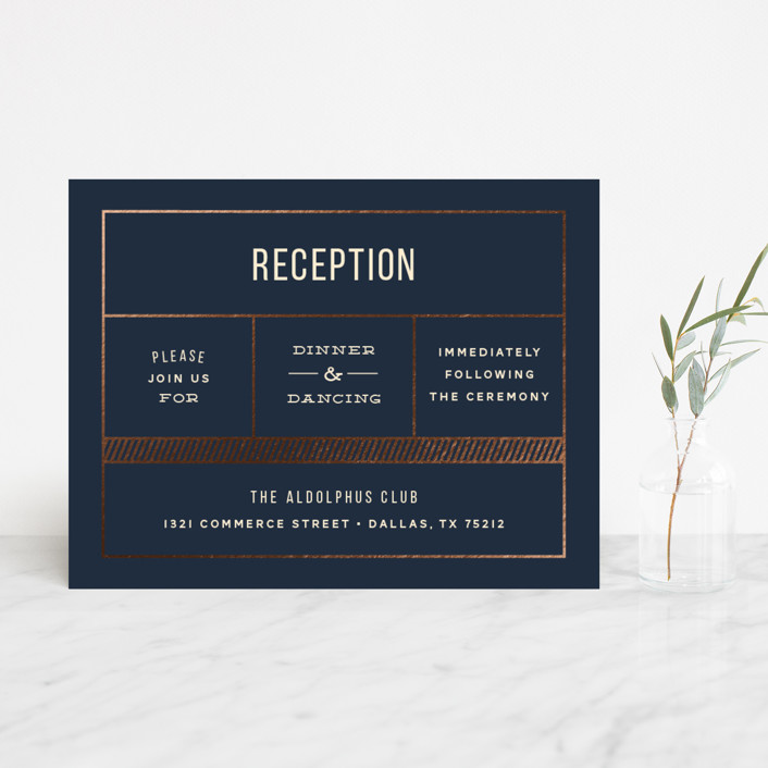"""""""Nautical By Nature"""" - Modern Foil-pressed Reception Cards in Navy by Dana Beckwith."""