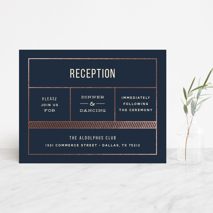 """Nautical By Nature"" - Modern Foil-pressed Reception Cards in Navy by Dana Beckwith."