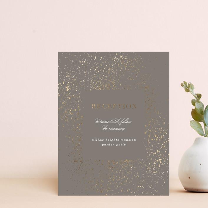 """""""Flecked Frame"""" - Bohemian Foil-pressed Reception Cards in Earthen by Erica Krystek."""