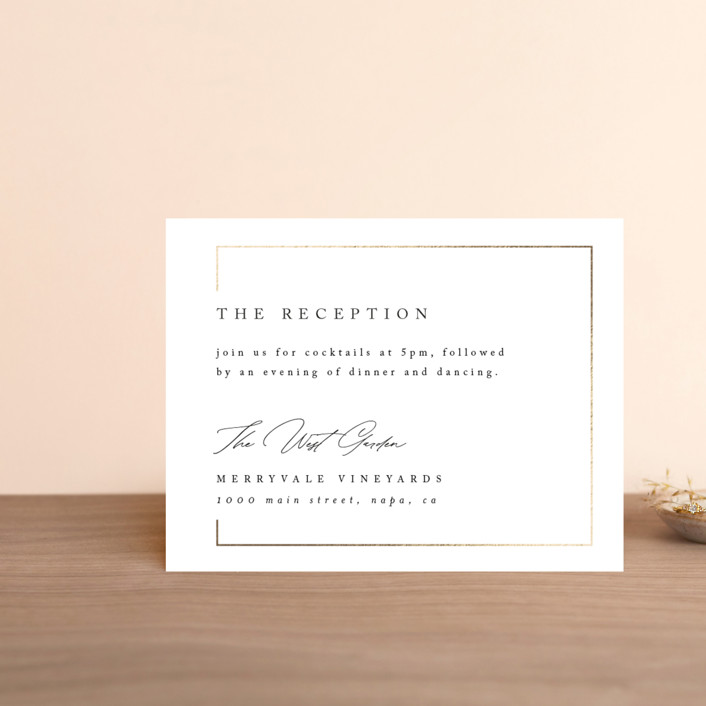 """""""Gilded Border"""" - Foil-pressed Reception Cards in Silk by Kelly Schmidt."""