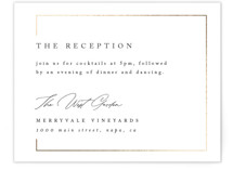 This is a white foil stamped wedding invitation by Kelly Schmidt called Gilded Border with foil-pressed printing on signature in standard.