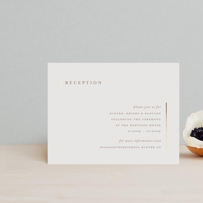 """Lydra"" - Modern Foil-pressed Reception Cards in Magnolia by elena diaz."