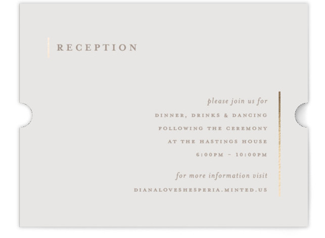 This is a portrait classic and formal, simple and minimalist, brown, white Reception Cards by elena diaz called Lydra with Foil Pressed printing on Signature in Card Flat Card format. This stunning wedding invitation features elegant colors and modern yet ...