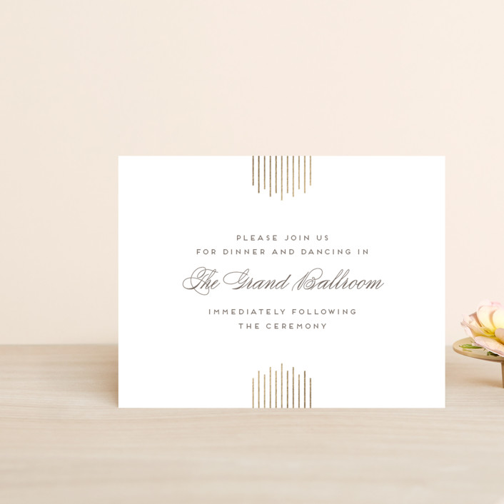 """""""A Golden Age"""" - Foil-pressed Reception Cards in Cocoa by Lehan Veenker."""