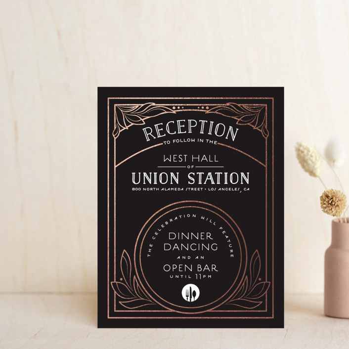 """Halcyon"" - Foil-pressed Reception Cards in Rose Gold by GeekInk Design."