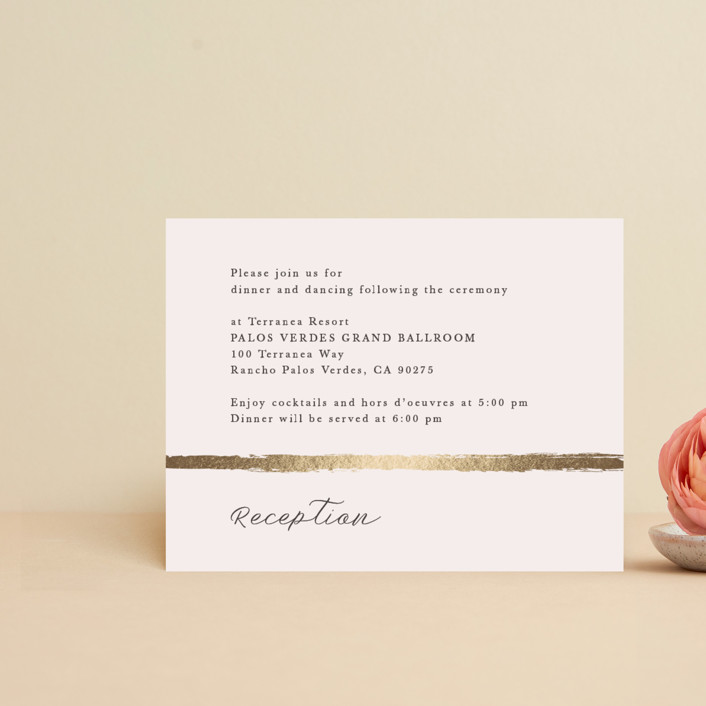 """""""Brushstroke"""" - Foil-pressed Reception Cards in Blush by Tatiana Nogueiras."""