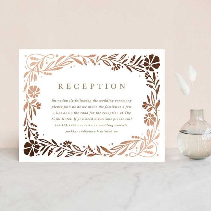 """Jasmine"" - Foil-pressed Reception Cards in Golden Hour by Kristen Smith."