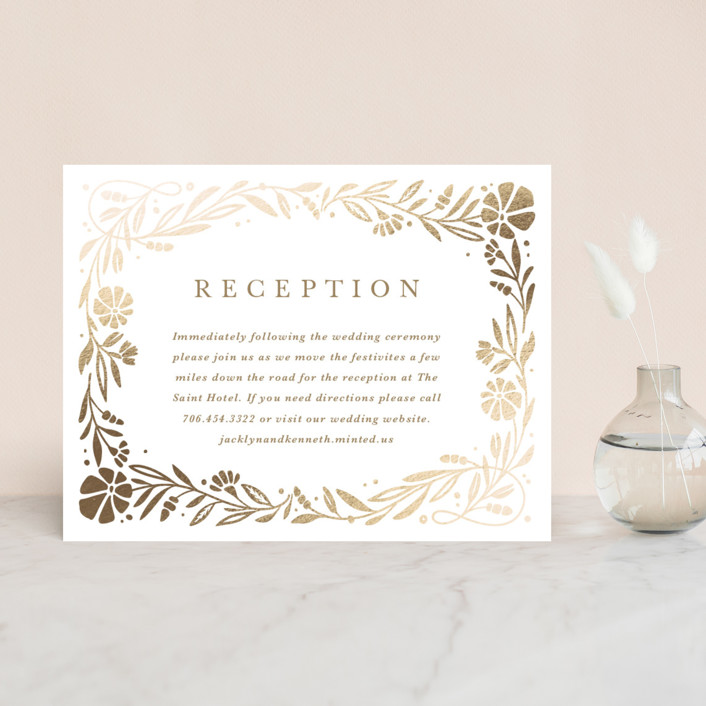 """Jasmine"" - Foil-pressed Reception Cards in Golden Hour by Kristen Smith."