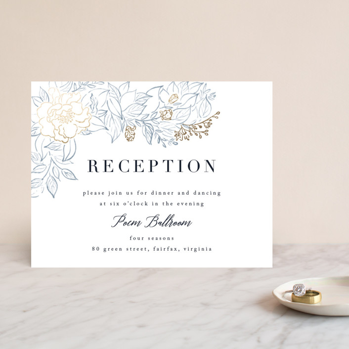 """""""Lush Garden"""" - Foil-pressed Reception Cards in Cobalt by Qing Ji."""