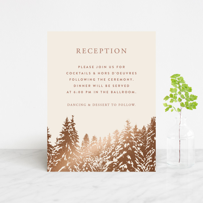 """Snowy Pines"" - Rustic Foil-pressed Reception Cards in Pearl by Gratia Design Co.."
