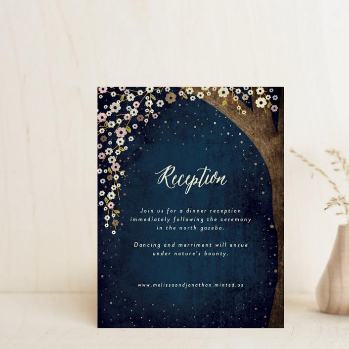 """""""Outside"""" - Rustic Foil-pressed Reception Cards in Navy by Rebecca Bowen."""