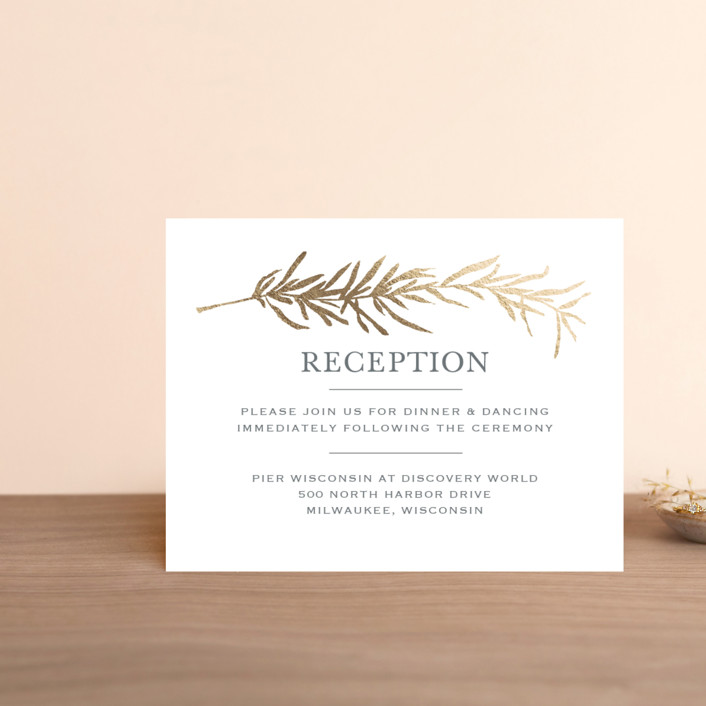 """Simple Sprigs"" - Rustic Foil-pressed Reception Cards in Gold by Erin Deegan."