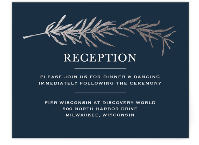 This is a landscape botanical, illustrative, rustic, blue, silver Reception Cards by Erin Deegan called Simple Sprigs with Foil Pressed printing on Signature in Card Flat Card format. Simple and traditional wedding invitation featuring sprigs of rosemary.