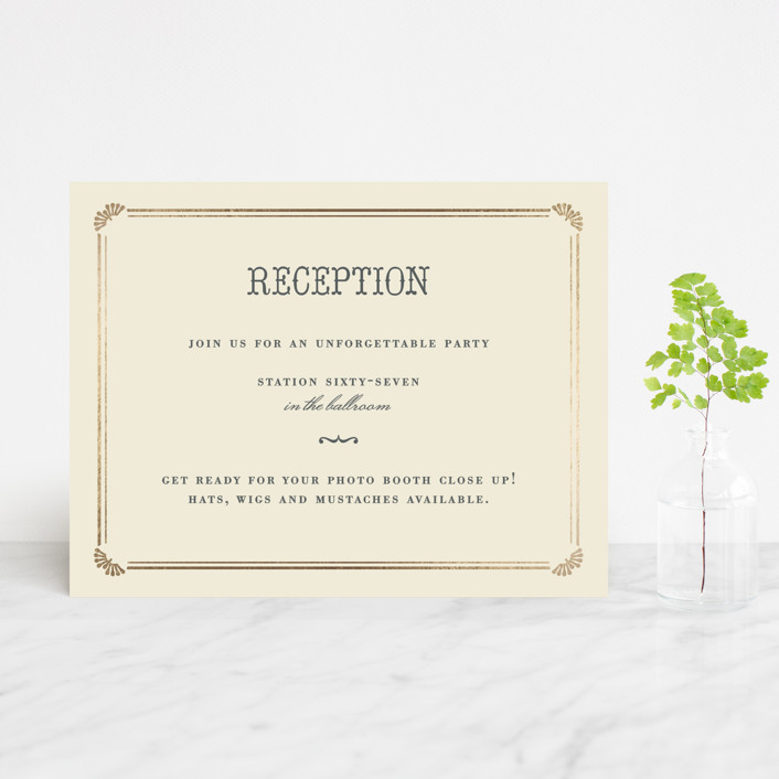 """Stache + Kiss"" - Whimsical & Funny Foil-pressed Reception Cards in Creme by Penelope Poppy."