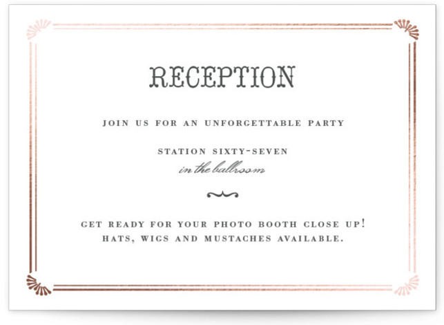 This is a landscape illustrative, offbeat, whimsical, black and white Reception Cards by Penelope Poppy called Stache + Kiss with Foil Pressed printing on Signature in Card Flat Card format. Super fun Wedding Invitation featuring a super awesome Stache and ...