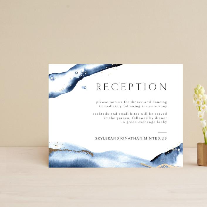 """Indigo"" - Foil-pressed Reception Cards in Storm by Anastasia Makarova."