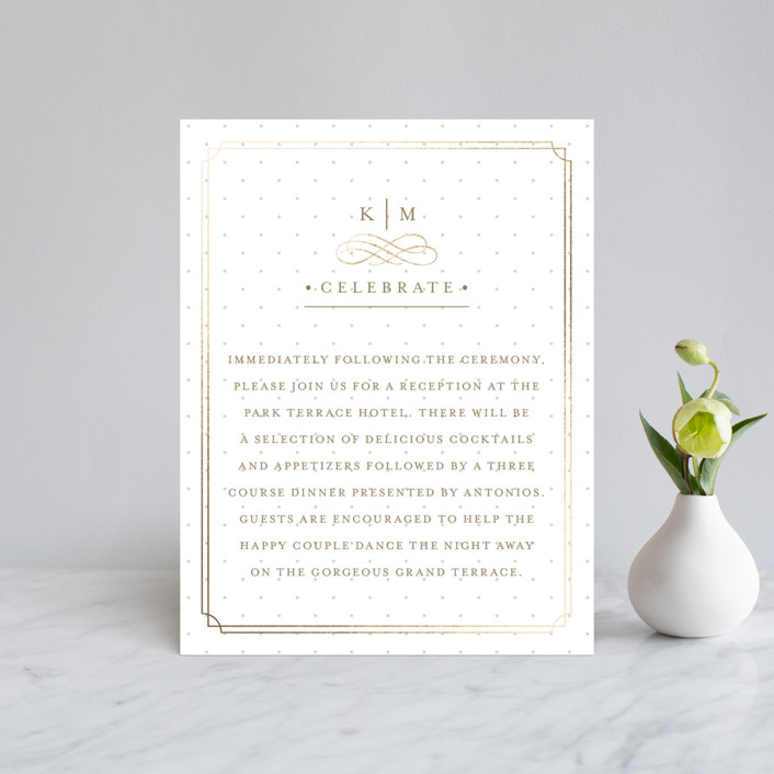 """""""A Glamorous Affair"""" - Monogrammed, Elegant Foil-pressed Reception Cards in Gold by Kristen Smith."""