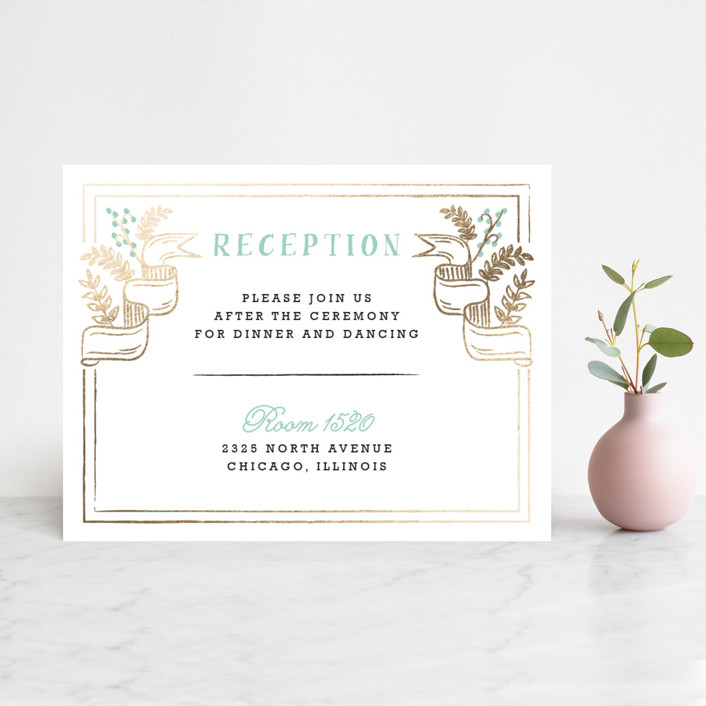 """Floral Chalkboard"" - Rustic Foil-pressed Reception Cards in Aqua by Lehan Veenker."