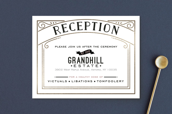 """Romantic Revelry"" - Bold typographic, Vintage Foil-pressed Reception Cards in Blush by GeekInk Design."