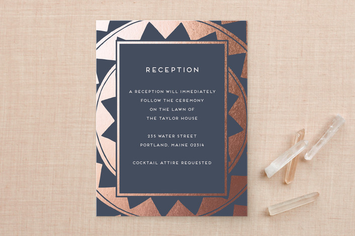 """""""Deco Chevron"""" - Vintage Foil-pressed Reception Cards in Marine by Katharine Watson."""